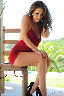 Anastasia Harris In Sexy Red Dress