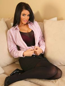 Gemma Massey in a pink blouse